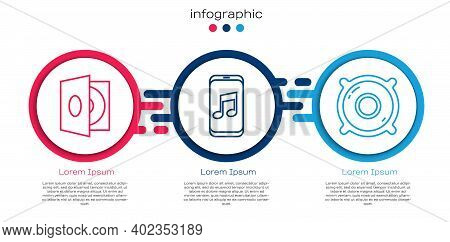 Set Line Vinyl Player With A Vinyl Disk, Music Player And Stereo Speaker. Business Infographic Templ