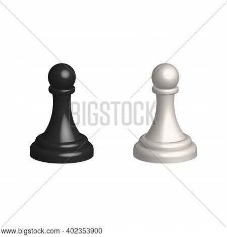 Chess Piece 3d Realistic Icon. Smart Board Game Elements. Chess Pawn Black And White Silhouettes Vec