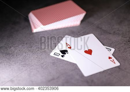 A Pair Of Aces On A Deck Of Poker Cards On A Table. Online Gambling. Gambling Addiction