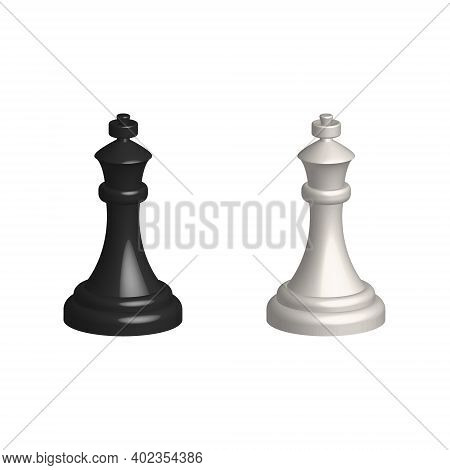 Chess Piece 3d Realistic Icon. Smart Board Game Elements. Chess King Black And White Silhouettes Vec