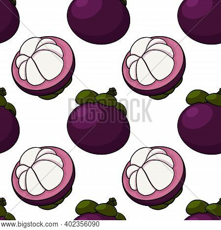Hand Drawn Mangosteen Tropical Fruit Seamless Pattern. Fresh Organic Food. Vector Illustration With