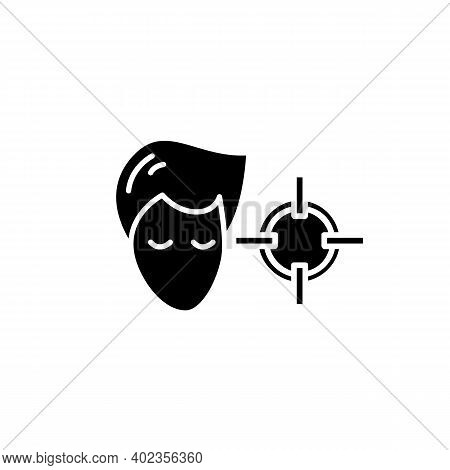 Attention Concentration Glyph Icon. Person Head With Target Filled Flat Sign. Concept Of Concentrati