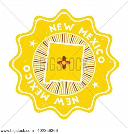 New Mexico Round Grunge Stamp With Us State Map And State Flag. Vintage Badge With Circular Text And