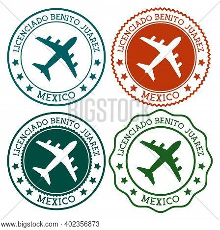 Licenciado Benito Juarez Mexico. Mexico City Airport Logo. Flat Stamps In Material Color Palette. Ve