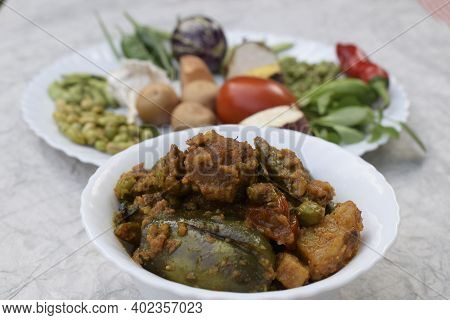 Winter Vegetables For Uttarayan Preparation Of Undhiyiu Dish. Gujarat Delicacy Indian Winter Seasona