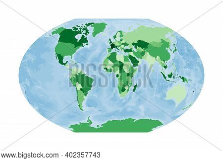 World Map. Winkel Tripel Projection. World In Green Colors With Blue Ocean. Vector Illustration.