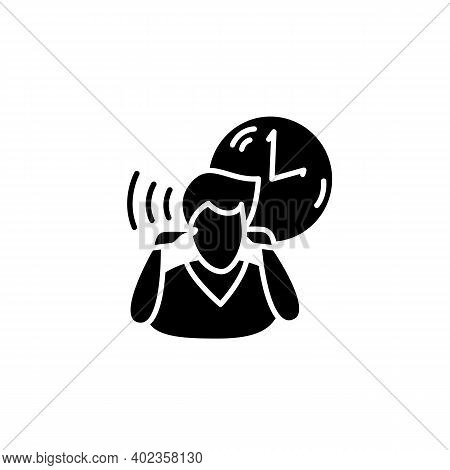 Mind Focus Glyph Icon.man Practicing Mindfulness Attention Concentration Periods Throughout Day. Con