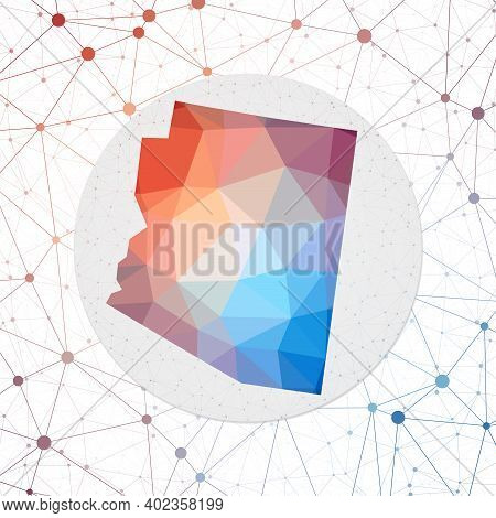 Abstract Vector Map Of Arizona. Technology In The Us State Geometric Style Poster. Polygonal Arizona