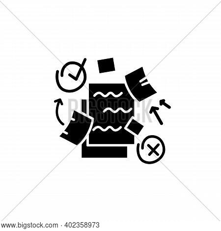 To Do List Glyph Icon. To Do Plan With Distraction Elements Filled Flat Sign. Concept Of Mind Focus,