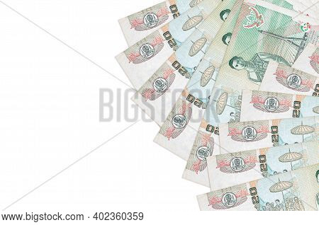 20 Thai Baht Bills Lies Isolated On White Background With Copy Space. Rich Life Conceptual Backgroun