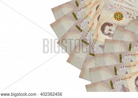 1000 Thai Baht Bills Lies Isolated On White Background With Copy Space. Rich Life Conceptual Backgro