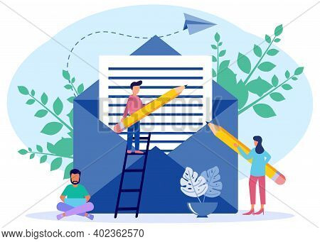 Modern Style Vector Illustration. E-mail Message Draft, E-mail Notification Delivery, Person Charact
