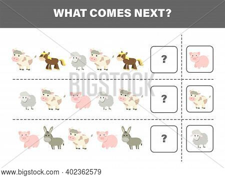 What Comes Next With Cute Farm Animals-cow,pig,horse,sheep And Donkey. Cartoon Vector Illustration.