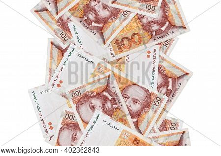 100 Croatian Kuna Bills Flying Down Isolated On White. Many Banknotes Falling With White Copy Space