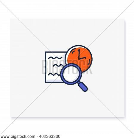 Comprehension Color Icon. Slow Reading With Magnifier And Clock Linear Pictogram. Concept Of Attenti