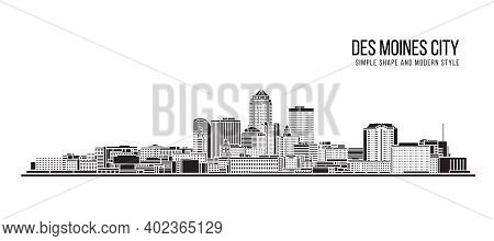Cityscape Building Abstract Simple Shape And Modern Style Art Vector Design -  Des Moines City
