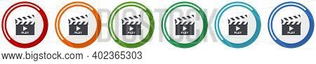 Video Icon Set, Flat Design Vector Illustration In 6 Colors Options For Webdesign And Mobile Applica