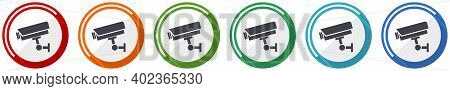 Cctv Camera Icon Set, Flat Design Vector Illustration In 6 Colors Options For Webdesign And Mobile A