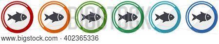 Fish Icon Set, Sea, Animal, Seafood, Nature, Food Flat Design Vector Illustration In 6 Colors Option