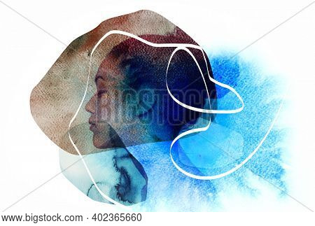 Double exposure of young beautiful african american woman meditates or dreams and original contemporary abstract art