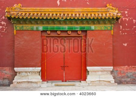 Ancient Gate In The Forbidden City,China