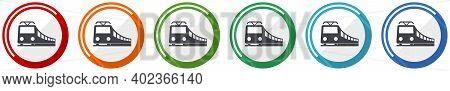 Train Icon Set, Railway, Transportation Flat Design Vector Illustration In 6 Colors Options For Webd