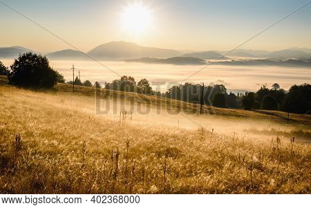 Sunrise In Mountain Landscape. Mountain Layers In Sunrise. Sunrise In The Mountain Forest Landscape.