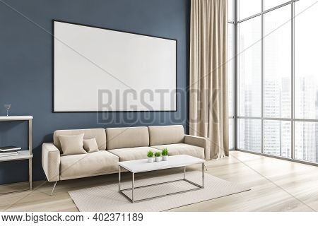 Mockup Canvas Frame In Living Room With White Sofa And Coffee Table With Plants, Side View. Blue Wal