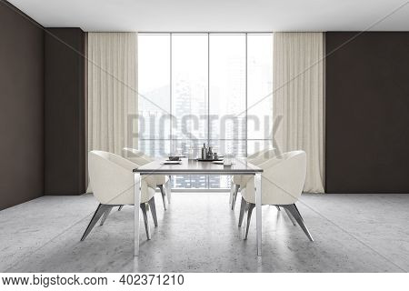 Dining Room With Four White Chairs, Table With Dishes On Grey Marble Floor, Front View With Window.