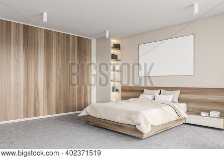 Mockup Canvas Frame In Beige And Wooden Bedroom, Bed With Pillows And Linens, Bookshelf In The Corne