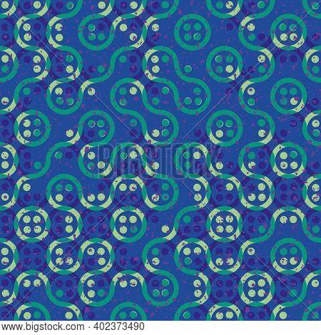 Truchet Generative Art Random Circles And Wavy Lines Vector Seamless Pattern Background. Backdrop Of