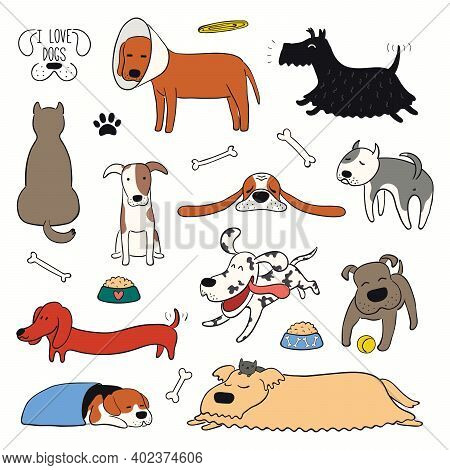Cute Funny Different Dogs, Puppies Clipart Collection. Hand Drawn Color Vector Illustration, Isolate