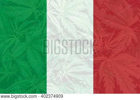 Medical Cannabis In The Italy.weed Decriminalization In Italy. Leaf Of Cannabis Marijuana On The Fla