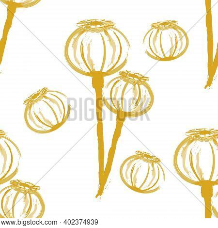 Dry Poppy Bolls Seamless Pattern. Drawing Of Poppy Heads Of Golden Color On A White Background.water