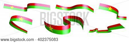 Set Of Holiday Ribbons. Flag Of Burkina Faso Waving In Wind. Separation Into Lower And Upper Layers.