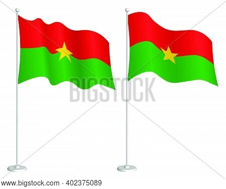 Flag Of Burkina Faso On Flagpole Waving In Wind. Holiday Design Element. Checkpoint For Map Symbols.