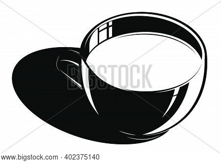 Black And White Coffee Mug With Drink On White Background. Design Element For Coffee Shop. Contrast