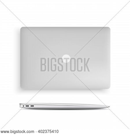 Set Of Laptops. Closed Laptop Side View And Top View. Vector Portable Computer Collection, Realistic