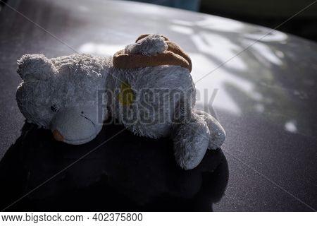 Broken Heart Concept. Alone Teddy Bear Sleep On Black Dark Floor. Conveys A Lonely Mood, Chagrin, Lo