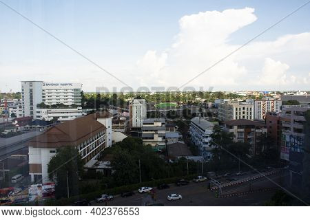 Aerial View Landscape And Cityscape Of Udonthani City Center With Traffic Road On September 14, 2020