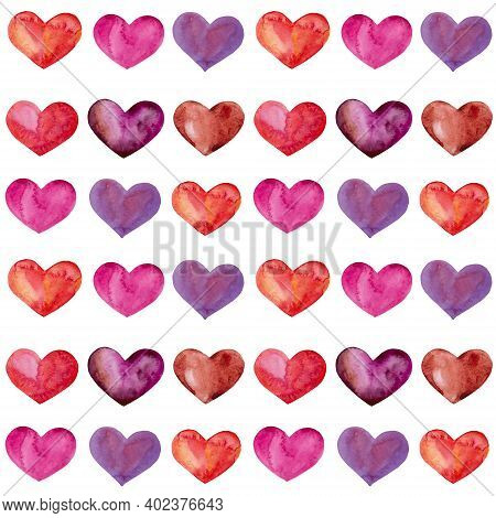 Watercolor Seamless Pattern Valentine's Day. Hand-drawn Watercolor Hearts Are A Symbol Of Love. Post
