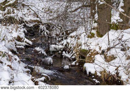 Gefrorener Bach Im Harzwinterwald In Saxony-anhalt Januar