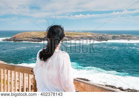 Woman Watching At Beautiful Scenery From The Boardwalk On Kangaroo Island, South Australia