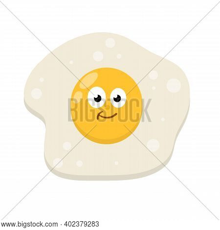 Protein And Yolk. Element Of Cooking. Children Drawing With A Funny Face. Cartoon Flat Illustration