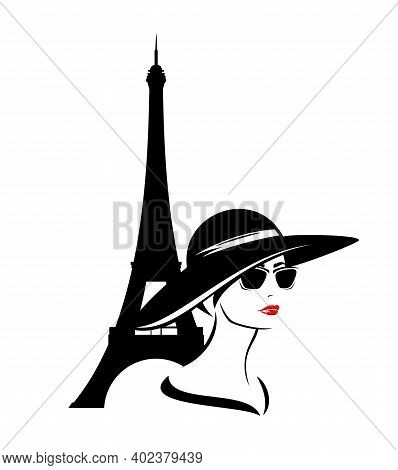 Beautiful Elegant Woman Wearing Sunglasses And Wide Brimmed Hat With Eiffel Tower Behind - Fashion G