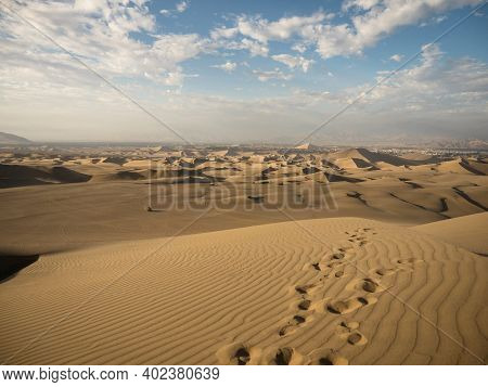 Panoramic Postcard View Of Footprint Desert Dry Sand Dunes Texture Pattern Oasis Of Huacachina Ica P