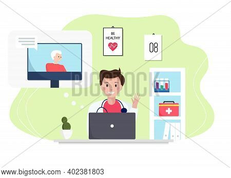 Senior Man Consulting With A Doctor Online Using His Computer, Telemedicine And Online Doctor Concep