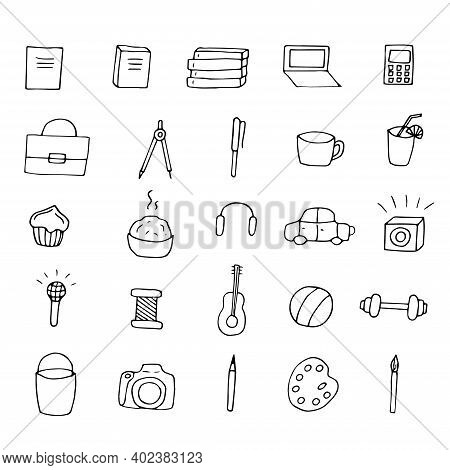 Set Of Hand Drawn Business, Hobby And Daily Affairs Icons, Vector Illustration