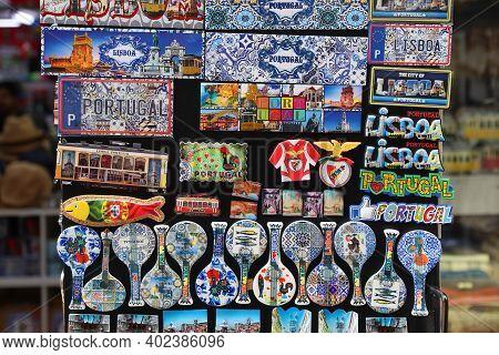 Lisbon, Portugal - June 4, 2018: Souvenir Magnets At A Gift Shop In Lisbon. Lisbon Is The 11th-most
