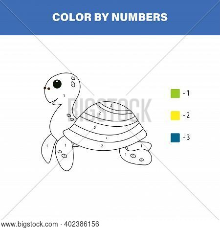 Color Cute Turtle By Number. Educational Math Game For Children. Coloring Page.